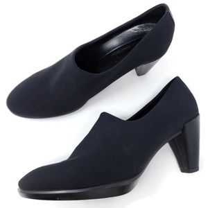 Ecco Loafer Pumps Black Microfiber Chunky Heel